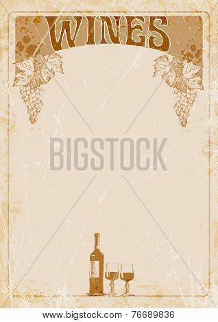 list. banner, bottle of wine, two glasses and place for your text.vector illustration