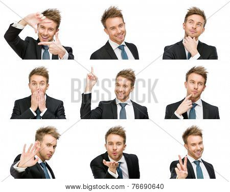 Portrait of businessman with different emotions, isolated on white