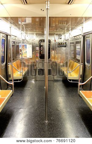 New York City - September 01: Empty Subway Wagon On September 01, 2013 In New York City.