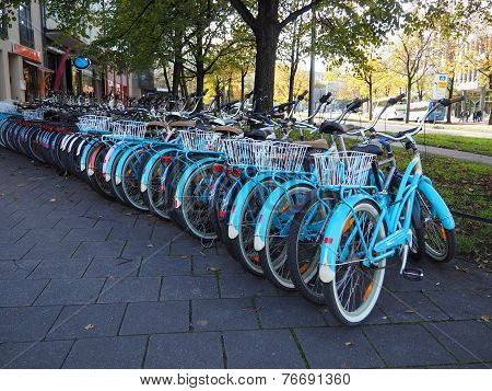 Row of  city public bicycles. MUNICH, GERMANY- 01 November 2014