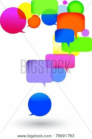 Speech bubble questions and answers.