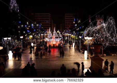 Syntagma Square during Christmas night in Athens