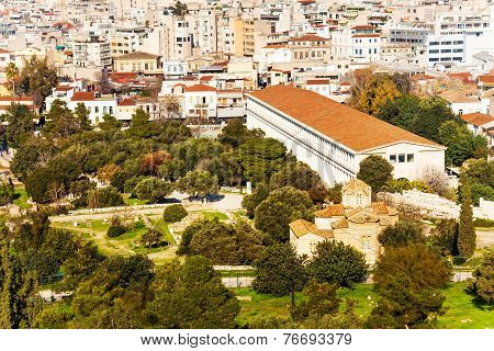 Stoa of Attalos with cityscape in Athens, Greece