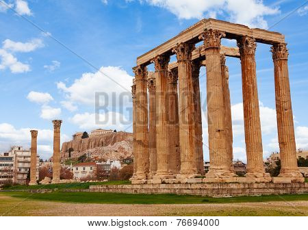 Zeus temple Athens with Acropolis in Greece