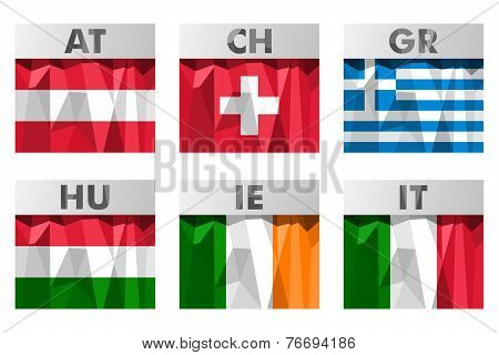 Flags In Polygonal Style