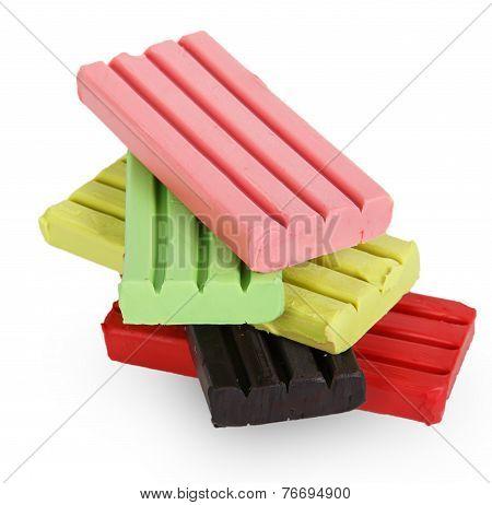 Children Bright Multicoloured Plasticine In The Column