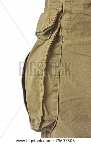 Military Olive Green Army Style Cotton Twill Cargo Pants Storage Pocket Isolated Macro Closeup Large