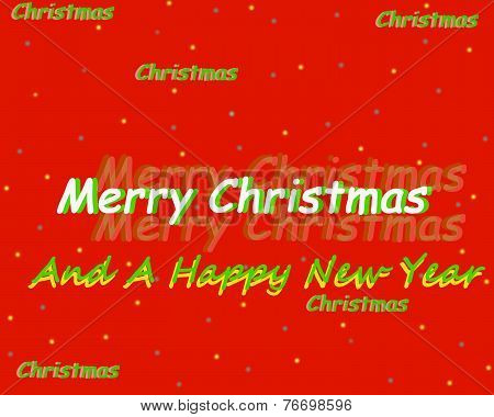 Bright Red Merry Christmas Sign With Happy New Year