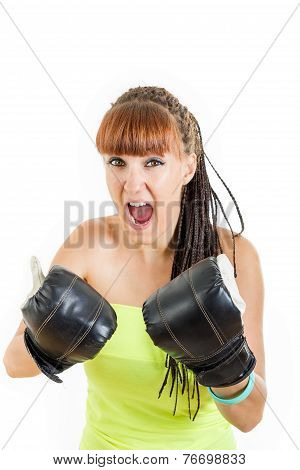 Angry Girl In Rage Wearing Boxing Gloves Ready To Fight