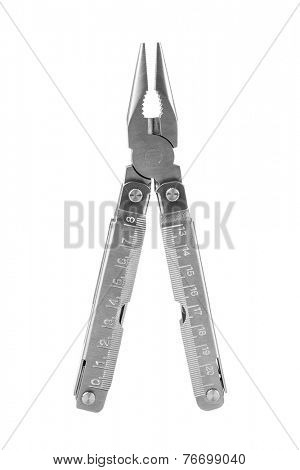 Steel multitool isolated on white background