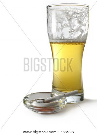 Beer glass and cigarette