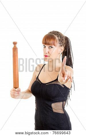Woman In Elegant Dress In The Kitchen With Rolling Pin