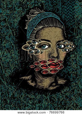 Portrait of a woman with multiplied eyes and lips, color vector