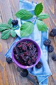 image of blackberries  - jam from fresh blackberry and sugar, fresh blackberry jam ** Note: Shallow depth of field - JPG