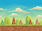 picture of cloudy  - Seamless cartoon nature landscape - JPG
