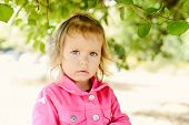 stock photo of windy weather  - a toddler girl outdoors in windy weather - JPG