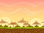 picture of orange-tree  - Seamless cartoon savanna landscape - JPG