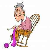 stock photo of grandma  - Nice elderly Grandma in a rocking chair - JPG