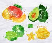 picture of mango  - Exotic fruit set drawn watercolor blots and stains with a spray mango - JPG