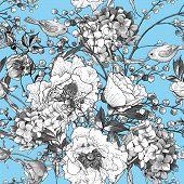 foto of mimosa  - Seamless monochrome classic floral pattern - JPG
