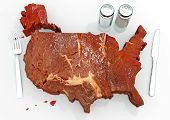 stock photo of enormous  - An illustration related to the enormous consumption of steak and red meats in the United States - JPG