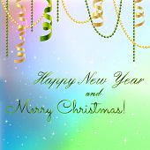 picture of weihnachten  - New year greeting card Christmas bow and ribbon - JPG