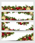 picture of poinsettia  - Vector set of Christmas banners with fir branches - JPG