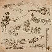 Постер, плакат: Greenland: Travel Around The World Vector Drawings