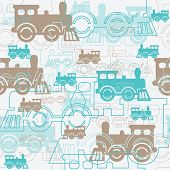image of locomotive  - Seamless background with the steam locomotives - JPG