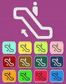 image of escalator  - Escalator icon Illustration with Color Variations Vector - JPG
