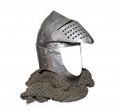 image of battle  - knight helmet and chain mail for protection in battle made of metal - JPG