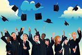 foto of graduation  - A vector illustration of students celebrating their graduation by throwing their graduation hats in the air - JPG