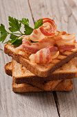 foto of bap  - hot big sandwich, toast and bacon with parsley ** Note: Shallow depth of field - JPG