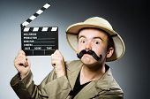 stock photo of safari hat  - Man in safari hat in hunting concept - JPG