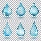 pic of teardrop  - Set of six transparent drops of different forms in blue colors - JPG