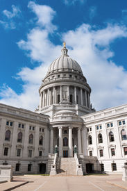 picture of granite dome  - Beaux Arts style architecture of Wisconsin State Capitol and dome under blue skies - JPG