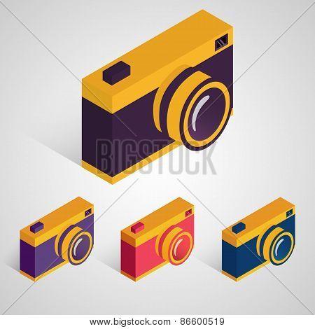 Isometric Retro Camera. Vector Set.