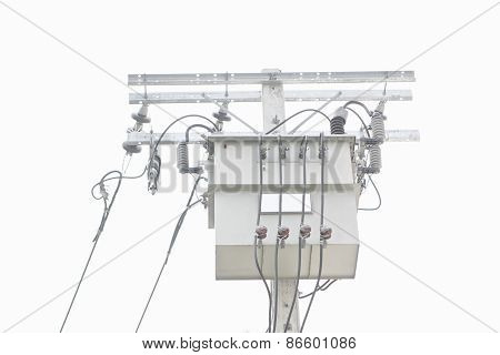 Electrical Power Transformer On Pole Isolated