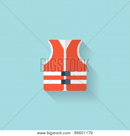 Flat lifejacket web icon.Background wit application symbols.