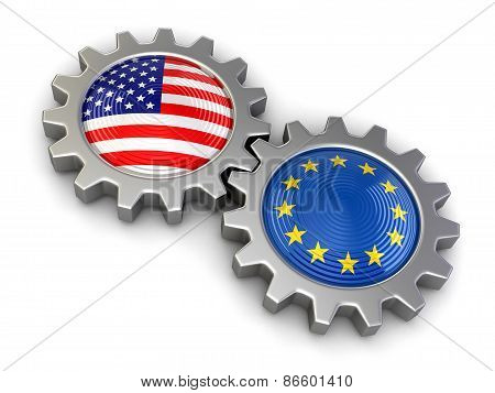 USA and European union flags on a gears (clipping path included)