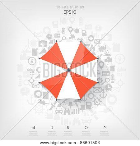 Beach umbrella web flat icon. Background wit application symbols.