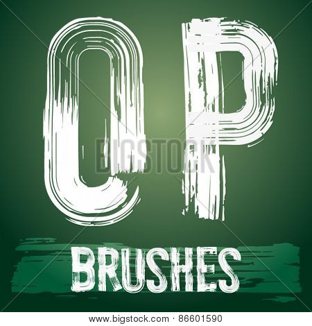 Vector set of grunge brush font available for military, construction and transportation themes. Letters O P