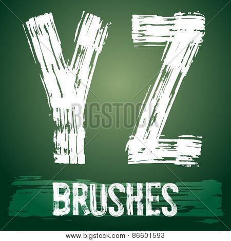 Vector set of grunge brush font available for military, construction and transportation themes. Letters Y Z