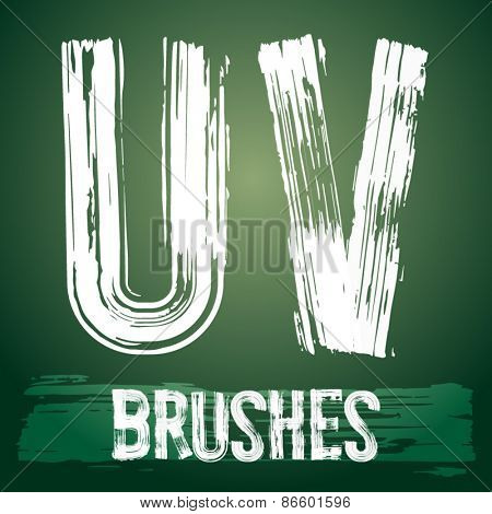 Vector set of grunge brush font available for military, construction and transportation themes. Letters U V
