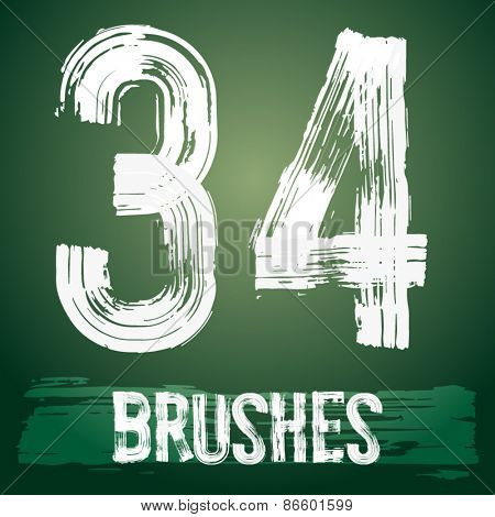 Vector set of grunge brush font available for military, construction and transportation themes. Numbers 3 4