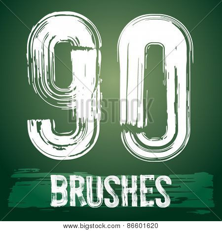 Vector set of grunge brush font available for military, construction and transportation themes. Numbers 9 0