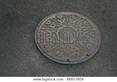 Metal Circle Of Drain Water On Pavement