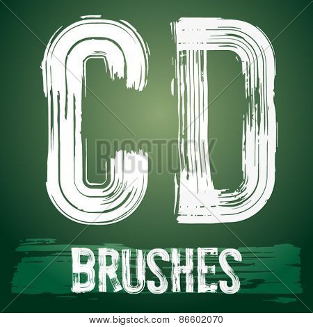 Vector set of grunge brush font available for military, construction and transportation themes. Letters C D