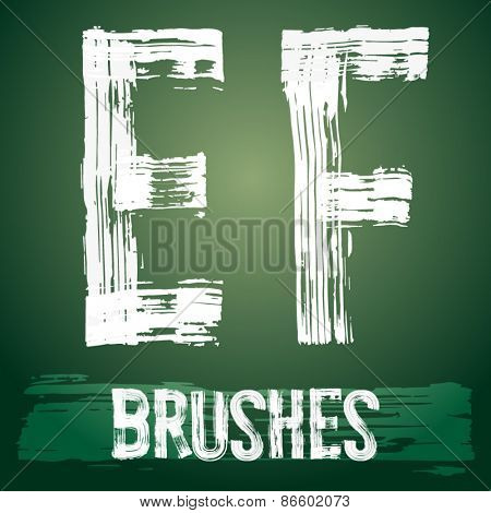 Vector set of grunge brush font available for military, construction and transportation themes. Letters E F