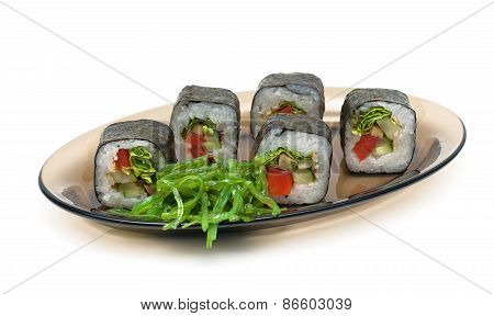 Rolls And Chuka Salad On A Plate On A White Background